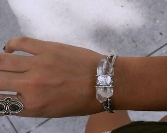 Clear Quartz cuff bracelt
