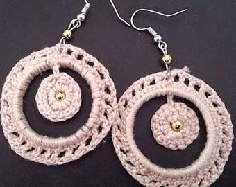 Crochet beige round earrings with Rhinestones