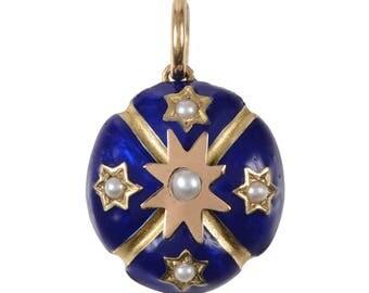 Antique Enamel, Gold and Pearl Locket Pendant