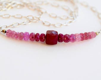 Ruby and Pink Tourmaline Necklace, Ruby Bar Necklace, Minimalist Red Necklace, Ombre Ruby Necklace, July Birthday, MahiDesigns1