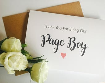 Thanks for being our Page boy Card, Thank You Card, Page Boy Card, Usher Card, Wedding Thank you Card, Wedding Cards