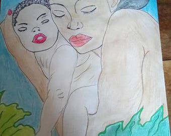 drawings of women and children