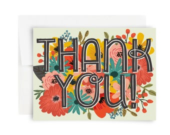 Thank You! Card : Greeting Card, Thank you, Thanks, Floral Card, Notecard, Bearly Southern Co, Flowers, Garden Notecard