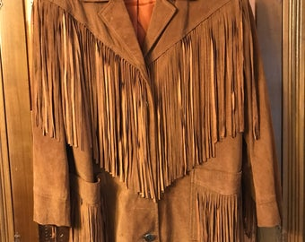 Vintage Fringed Suede leather Jacket/Western/Hippie/Boho/Cowboy/Native American/Retro