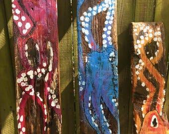 Octopus Driftwood Painting Tiki Decor Handmade Art