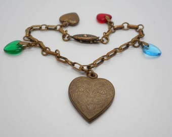 Antique Victorian Jewelry Charm Bracelet with Hearts Romance Love