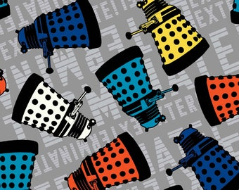 Doctor Who Grey Dalek Cotton fabric
