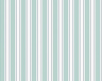 Shabby Chic Striped green or blue Cotton Fabric