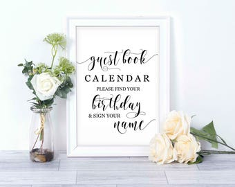 Guest Book Birthday Calendar / Wedding Guest Book Sign/ Guest Book/ Instant Download Printable