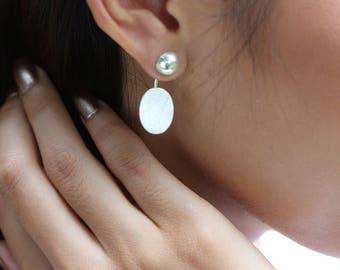 Sterling Silver Ear Jacket, Silver Earrings, Silver Ear Studs, Bohemian Earrings, Stocking Stuffers, Oval Earrings, Pretty Ear Studs (E124)