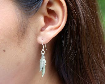 Sterling Silver Feather Earrings, Silver Earrings, Dangle Earrings, Bohemian Jewelry, Feather Earrings, Gift Earrings, Christmas Gift (E126)