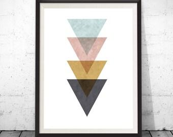 Minimalist poster, printable art print, Geometric print, Triangle art, Wall art, Digital print, Scandinavian art poster