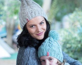 Cable knit Mommy and me hats, Matching hats, Knit womens hat, Knit toddler hat, Wool knit hat, Pompom knit hat, Wool winter hat, Christmas