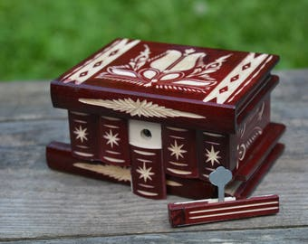 Jewelry holder organizer storage, jewelry box wood, small vintage wooden puzzle box, girls jewelry box woman, trinket box, keepsake box