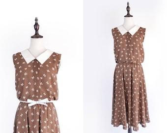 White Ribbon Print Flat Collar Sleeveless Brown Vintage Women Dress Size M