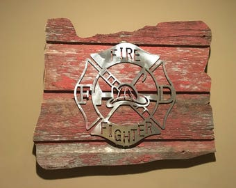Oregon Firefighter Barnwood Sign