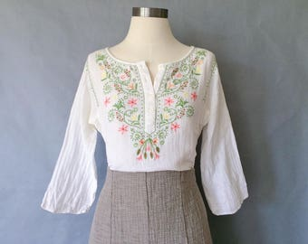 vintage cotton tunic/ embroidered shirt/ floral blouse women's size S/M