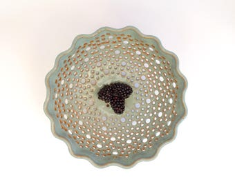 Berry Bowl with Saucer, Ceramic Colander, Glossy Blue & Bronze•Stoneware•Fruit Bowl•wheel-thrown•Artisan•studio pottery•OOAK•In Stock