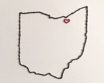 Cleveland has my heart hand embroidery ohio love