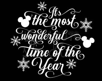 It's the Most Wonderful Time of the Year/ Mickey Minnie Mouse Holidays Christmas Matching Family Boys Girls Disney Iron On Decal Vinyl 178