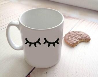 Sleepy eyes eye lashes coffee cup mug beauty cute bestie