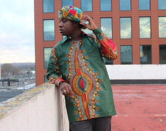 African Shirt Mens - African Mens  Clothing - Dashiki Shirt - Festival Clothing - Dashiki Top - Festival Shirt - Dashiki - Wax Shirt