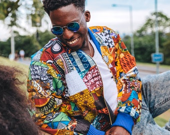 Patchwork Jacket - African Print Jacket - Festival Clothing - Hamed jacket