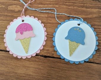 It's a Sweet Little Girl / Boy Pink and Blue Ice Cream Cone  Baby Shower Favor Tags (Set of 10)