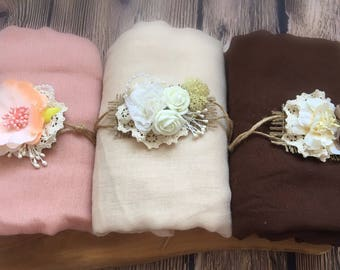 Set of 3 Soft Cheesecloth Wrap with headband Baby Newborn Photography Prop Backdrop