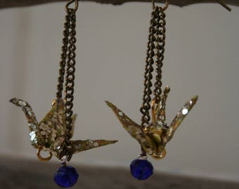 Origami earrings blue beads and glitter crane