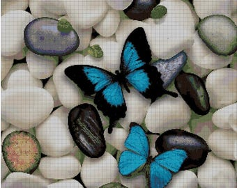Butterfly and pebbles cross stitch pattern in pdf