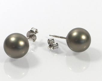 4th July Sale Grey Pearl Post Earrings , 10mm Shell Pearl Earrings , Sterling Silver 925 Earrings , Stud Earrings, Gift For Her