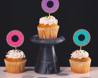 Donut cupcake topper, Set of 12 glitter cupcake topper, Glitter cupcake topper