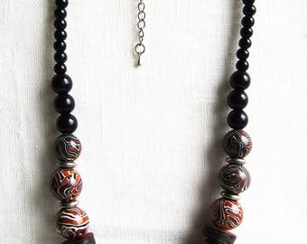 Made of polymer clay beaded necklace