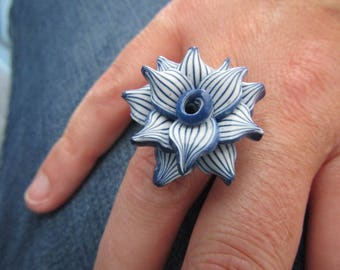 Blue flower polymer clay ring