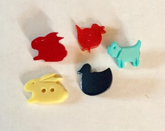Lot 5 Vintage Animal Realistic Shape Early Plastic Buttons Duck Bunny Rabbit Dog Birds