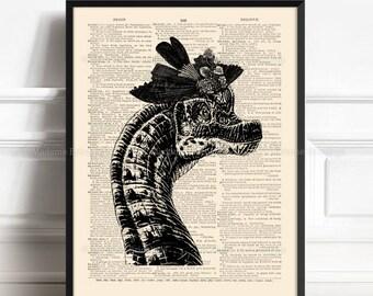 Dinosaur Art Poster, Dinosaur Wall Decor, Cool Dinosaurs, Funny Office Art, Cool Mom Gift, Gift For Girls, Funny Victorian Art, Print 007