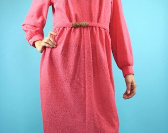 60's Vintage Magenta Terry Belted Dress