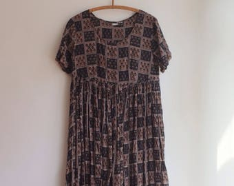 Vintage indian cotton blockprint boho hippie dress M