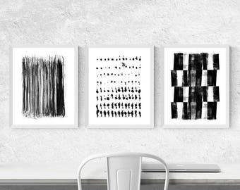 Abstract Painting, Set of 3 Prints, Minimalist Art Triptych, Abstract Art Set, Abstract Patterns, Fine Art Prints, Black and White Wall Art