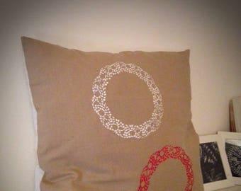 Pillow cover cotton linen with applique stencil
