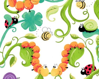 Leif the Caterpillar Allover from Susybee SB20244-810 juvenile susy bee quilting cotton woven fabric character children kids bugs cartoon