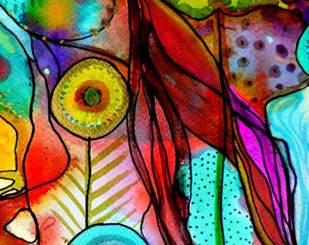Multi Stained Glass Patch Digitally Printed by Sylvie Demers for P&B Textiles quilting cotton 26735-MUL1 abstract