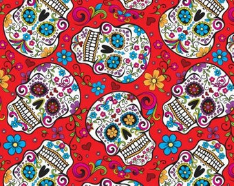 Red Folkloric Skulls by David Textiles sugar skull flowers floral day of the dead woven cotton by the yard metre DT28882C1