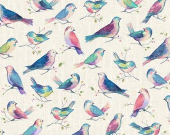 All a Twitter Seetpea Birds Allover digital print cotton fabric from Hoffman P4390H-447 woven quilting birds by the yard metre