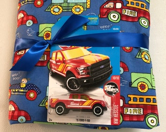 Boy Crib/Toddler sheet, cars, trucks, blue, red, green