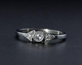 ON SALE Vintage Art Deco Milgrain Engagement Ring - White Gold, Minimalist Rings