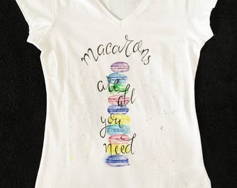 Woman T-shirt, t-shirt for her/ gift for her/ cotton t-shirt/ hand painted t-shirt summer macarons / color macarons