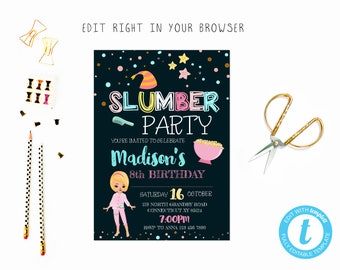 Cute slumber birthday party tem, TRY BEFORE you BUY, instant download, edit yourself invitation,Template Editable