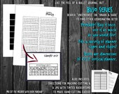 Bujo Mini Trackers 30 Day Month Printable Planner Stickers | Bullet Journal Collections tracking | black and white